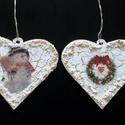 Karácsonyi szívek, Fa alapú szívek antikolt hatással, szalvétatec...