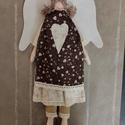 Vintage textil angyal, Tilda stílushoz hasonló textil angyalka szoknyá...
