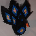 Páva fekete, Dekoráció, Dísz, Papírművészet, 3d origami technikával ( több száz pici papírelem egymásba építése általában ragasztás nélkül) kész..., Meska