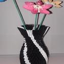 Váza fekete kicsi, Dekoráció, Dísz, Papírművészet, 3d origami technikával ( több száz pici papírelem egymásba építése általában ragasztás nélkül) kész..., Meska