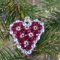 Szivecske 2 - Bordó, ezüst karácsonyfadísz