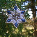 Mennyből az angyal... - kék - fehér karácsonyfadísz szett, Dekoráció, Ünnepi dekoráció, Karácsonyi, adventi apróságok, Karácsonyfadísz, Gyöngyfűzés, Különleges angyalkák és csillagok, minőségi, kopásálló japán és cseh gyöngyökből, swarovski kristál..., Meska