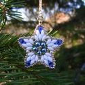 Mennyből az angyal... - kék - arany - fehér karácsonyfadísz szett, Dekoráció, Ünnepi dekoráció, Karácsonyi, adventi apróságok, Karácsonyfadísz, Gyöngyfűzés, Különleges angyalkák és csillagok, minőségi, kopásálló japán és cseh gyöngyökből, swarovski kristál..., Meska
