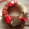 Karácsonyi ajtódísz, Dekoráció, Ünnepi dekoráció, Karácsonyi, adventi apróságok, Karácsonyi dekoráció, Mindenmás, Csillagos ég alatt,  fenyőerdőben bandukol a rénszarvas. :) Koszorú külső átmérője kb. 15 cm. A ter..., Meska