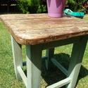 Hokedli, Bútor, Asztal, Szék, fotel, Régi, felújított, kopottas hatású hokedli, ami betöltheti eredeti ülő funkcióját vagy hasz..., Meska