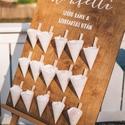 Esküvői konfettis tábla, Dekoráció, Esküvő, Esküvői dekoráció, Festett tárgyak, Kézzel festett esküvői konfettis tábla. 75*60 cm A festőállvány nem része a táblának. , Meska