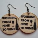 Borkedvelők fülbevalója 2., Ékszer, óra, Fülbevaló, Alig várod, hogy munka után végre kiengedd kicsit a gőzt egy pohár/üveg finom bor társaságá..., Meska