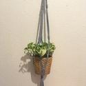 Makramé virágtartó szürke zsinórfonalból