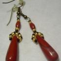 Vörös jáspis fülbevaló /lefoglalva/, Vörös jáspis medálhoz készült. hossza:5cm