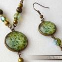 Zöld virágmintás szett, Antikolt BRONZ színű alapon cseh gyöngyökkel e...
