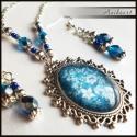 Romantikus kék virágos szett, Ezüst színű alapon üveglencsés medállal, cse...