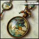 Virágba borult fa mintás antikolt bronz szett, Antikolt BRONZ színű alapon cseh gyöngyökkel e...