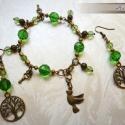 Zöld életfás fülbe-karkötő szett, Bronz fém alkatrészekkel, életfa függőkkel, z...
