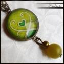 Zöld jáde ásványos szett, Zöld jádés szett egyedi tervezésű mintával Z...