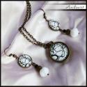 Trendi fehér-antikolt bronz szett, Antikolt BRONZ színű alapon cseh gyöngyökkel e...