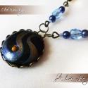 Kék Mustármagos nyaklánc- (a hit jelképe), A fém alkatrészek bronz színűek. A kerek medá...