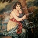 Olajfestmény-anya gyermekével, Dekoráció, Képzőművészet, Festmény, Olajfestmény, Eredeti olajfestmény -anya gyermekével- fára festve 50x60cm.(nem nyomat) Elisabeth Vigée-Lebrun után..., Meska