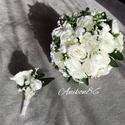 Gyöngyös, Fehér rózsa örökcsokor szett, Esküvő, Esküvői csokor, Virágkötés, Gyöngyös, Fehér rózsa menyasszonyi örökcsokor szett  Szett tartalma : 1db menyasszonyi örökcsokor  ..., Meska