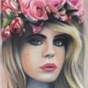 Női Portré, Képzőművészet, Grafika, Rajz, Festészet, Színes ceruzával készítettem ezt a Lana Del Rey portrét. A4-es méretben készült, a szerencsés vásár..., Meska