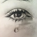 szem portré, Képzőművészet, Grafika, Grafikai rajz a szemről, könnycseppel ábrázolva. A4-es méretben (21x30 cm) készült., Meska