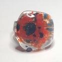 Pipacsos, Ékszer, Gyűrű, Négyzet formájú, többrétegű üveg összeolvasztásával készülő egyedi termék. Mérete~2x2..., Meska