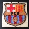 FC Barcelona_String Art, Férfiaknak, Dekoráció, Otthon, lakberendezés, Mindenmás, Mindenmás, A kép alapját egy 2 cm-es festett és lakkozott fenyőlap adja, melyen a kiválasztott minta körvonalá..., Meska