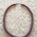 Matt lila nyaklánc, Ékszer, óra, Karkötő, Gyöngyhorgolt technikával készült matt lila nyaklánc. hossza: 36cm. Készletben is megvásárol..., Meska