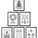 Karácsonyi falikép szett, 6 db digitális nyomat kerettel, Dekoráció, Kép, Ünnepi dekoráció, Karácsonyi, adventi apróságok, Karácsonyi tematikájú, monokróm, pixelmintás digitális képek. Az egyedi tervezésű nyomatok modern, l..., Meska