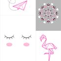 Kollázs, 4 db-os falikép szett,pink-rózsaszín-szürke digitális nyomatok kerettel (origami flamingó,szempilla,szív,virág), Baba-mama-gyerek, Otthon, lakberendezés, Gyerekszoba, Falikép, Egyedi tervezésű kollázs, vidám, trendi képekkel, melyek feldobnak minden helyiséget.  A képek mellé..., Meska