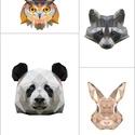 Kollázs,4db-os falikép szett állatokkal,modern geometrikus digitális nyomatok kerettel (bagoly,panda,mosómedve,nyúl), Dekoráció, Otthon, lakberendezés, Kép, Falikép, Egyedi tervezésű kollázs, vidám, trendi képekkel, melyek feldobnak minden helyiséget.  A képek mellé..., Meska