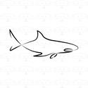 Cápa - modern kép kerettel, fekete-fehér digitális nyomat, Dekoráció, Otthon, lakberendezés, Falikép, Kép, Monokróm, trendi minimalista stílusú, ún. 'one line' technikával készült, vagyis egyetlen vonallal m..., Meska