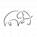 Elefánt - modern kép kerettel, fekete-fehér digitális nyomat, Dekoráció, Otthon, lakberendezés, Falikép, Kép, Monokróm, trendi minimalista stílusú, ún. 'one line' technikával készült, vagyis egyetlen vonallal m..., Meska