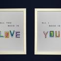 2 db A4-es méretű, digitális nyomat kerettel. All you need is love/All I need is you, Otthon, lakberendezés, Valentin napra, Falikép, Szerelmet hirdető, 2 részes falikép sorozat, mely a friss és modern dizájn jegyében készült.  A/4-es..., Meska