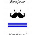 """""""Bonjour Monsieur!"""" - A4-es méretű kép, digitális nyomat kerettel, Otthon, lakberendezés, Dekoráció, Falikép, Kép, Modern, minimalista stílusú, fekete-fehér kép, egy csipetnyi kékkel.  Feldobja a trendi, letisztult ..., Meska"""