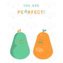 """""""Pearfect"""" - A4-es méretű kép, digitális nyomat kerettel, Otthon, lakberendezés, Dekoráció, Valentin napra, Falikép, Aranyos illusztráció, zöld és narancssárga körtével, és """"YOU ARE PEARFECT"""" felirattal.    A/4-es mér..., Meska"""