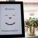 """""""Bonjour Mademoiselle!"""" - A4-es méretű kép, digitális nyomat kerettel, Otthon, lakberendezés, Dekoráció, Falikép, Kép, Modern, minimalista stílusú, fekete-fehér kép, egy csipetnyi pirossal.  Feldobja a trendi, letisztul..., Meska"""