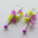 Élénk színekben, Ékszer, Fülbevaló, A fülbevalót acril virágokból készítettem neon színekben.Platina színű ékszeralkatrészeket használta..., Meska