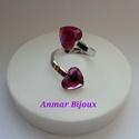 Két szív, Ékszer, Gyűrű, A gyűrű állítható Ag925 gyűrű alapból és Swarovski szivecskékből készült., Meska
