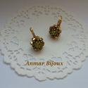 Arany virág, Ékszer, Fülbevaló, A fülbevaló aranyozott fülbevaló alapból,Swarovski rivoliból és gyöngyökből gyöngyfűzés..., Meska