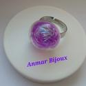 Buborékba zárt csillogás, Ékszer, Gyűrű, Az állítható gyűrű platina színű gyűrű alapból, üveg buborékból és csillogó szálból készült...., Meska
