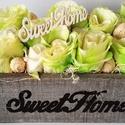 Sweet Home rózsaláda, Dekoráció, Dísz, Virágkötés, Zöldes árnyalatban pompázó rózsaláda, sweet home felirattal díszítve.   Méretei:  - magasság: 15 cm..., Meska