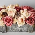 Thankfull rózsaláda, Dekoráció, Dísz, Virágkötés, Púder, mályva és fehér színben pompázó polifoam virágok, termések. Mindezek egy thankfull feliratú ..., Meska