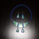 Kékzöld tombolás, Ékszer, óra, Nyaklánc, Fülbevaló, Ékszerszett, Ékszerkészítés, Gyurma,  Fimo ékszergyurmából  készítettem a  62 cm hosszú, királykék és ezüstös pamuttal körbetekert merev..., Meska