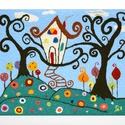 Falikép gyapjúfonallal: Kislánykorom tündérerdejében, Otthon & lakás, Képzőművészet, Vegyes technika, Dekoráció, Lakberendezés, Falikép, Punch needle technikával és gyapjúfonallal készült textil falikép fakeretben. Felhasznált anyagok: 1..., Meska