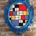 Falikép gyapjúval - Mondrian inspiráció, Otthon & lakás, Képzőművészet, Vegyes technika, Textil, A képet Piet Mondrian inspirálta. Punch needle technikával és gyapjúfonallal készült textil falikép ..., Meska