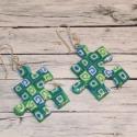 Zöldes mintás puzzle fülbevaló, Ékszer, óra, Fülbevaló, Hőre keményedő gyurmából készült puzzle füli. Mérete 2,5x2,5  Bármilyen színben rendelhető...., Meska