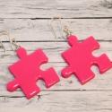 Pink puzzle fülbevaló, Ékszer, óra, Fülbevaló, Hőre keményedő gyurmából készült füli. Mérete 2,3x2,3 cm. A színeket és formákat szabadon lehet komb..., Meska