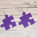 Lila csillámos puzzle fülbevaló, Ékszer, óra, Fülbevaló, Hőre keményedő gyurmából készült füli. Hossza 2,5 cm.A színeket szabadon lehet kombinálni, sárgát zö..., Meska