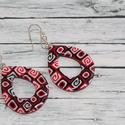 Piros fekete csepp fülbevaló, Ékszer, óra, Fülbevaló, Hőre keményedő gyurmából készült fülbevaló, a muranoi millefiori üvegtechnikához hasonlóan, hossza 3..., Meska