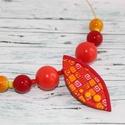 AKCIÓ! Piros narancs nyaklánc, Ékszer, óra, Medál, Nyaklánc, Csapj le rá most akciósan 2800ft helyett 1500ft-ért. Hőre keményedő gyurmából készült nyaklánc, üveg..., Meska